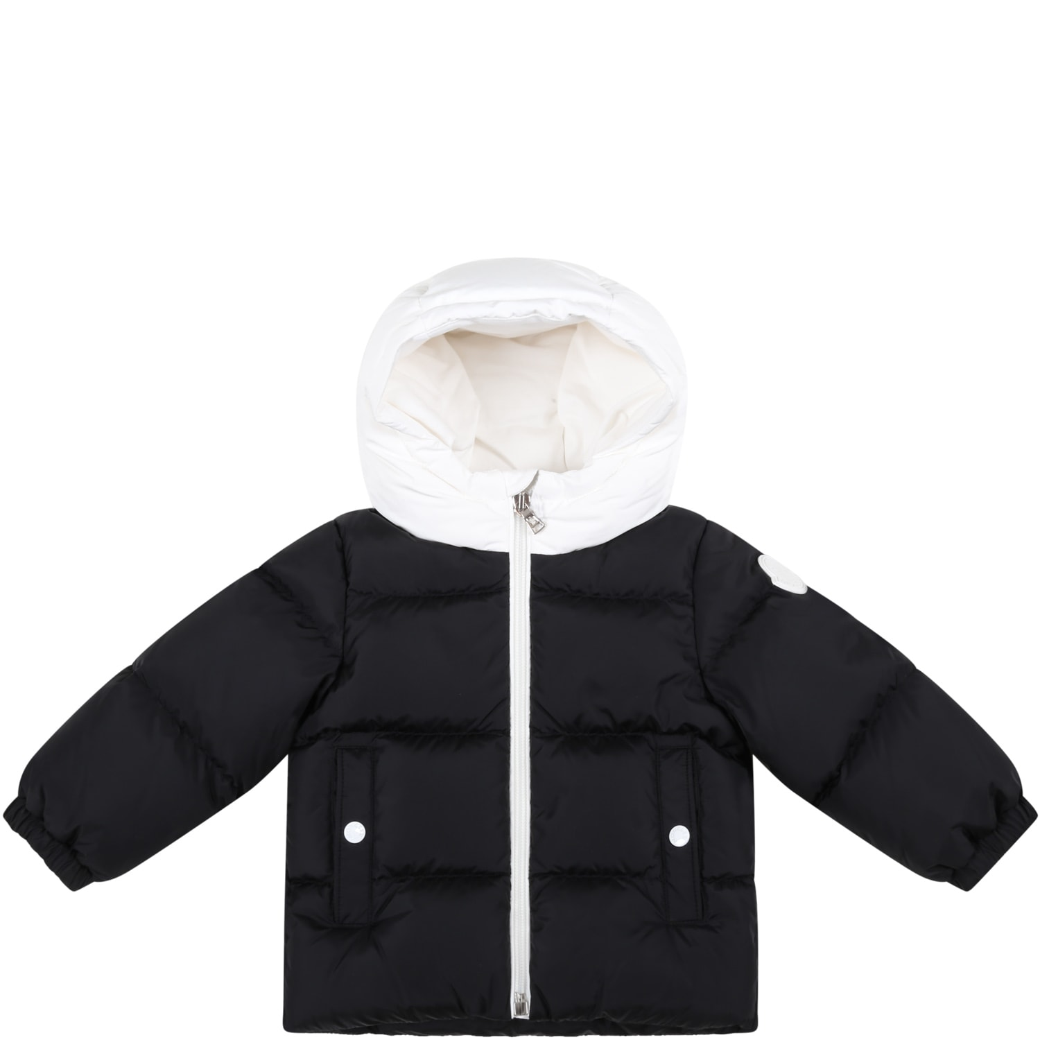 Moncler Black araldo Jacket For Baby Boy With Logo Patch