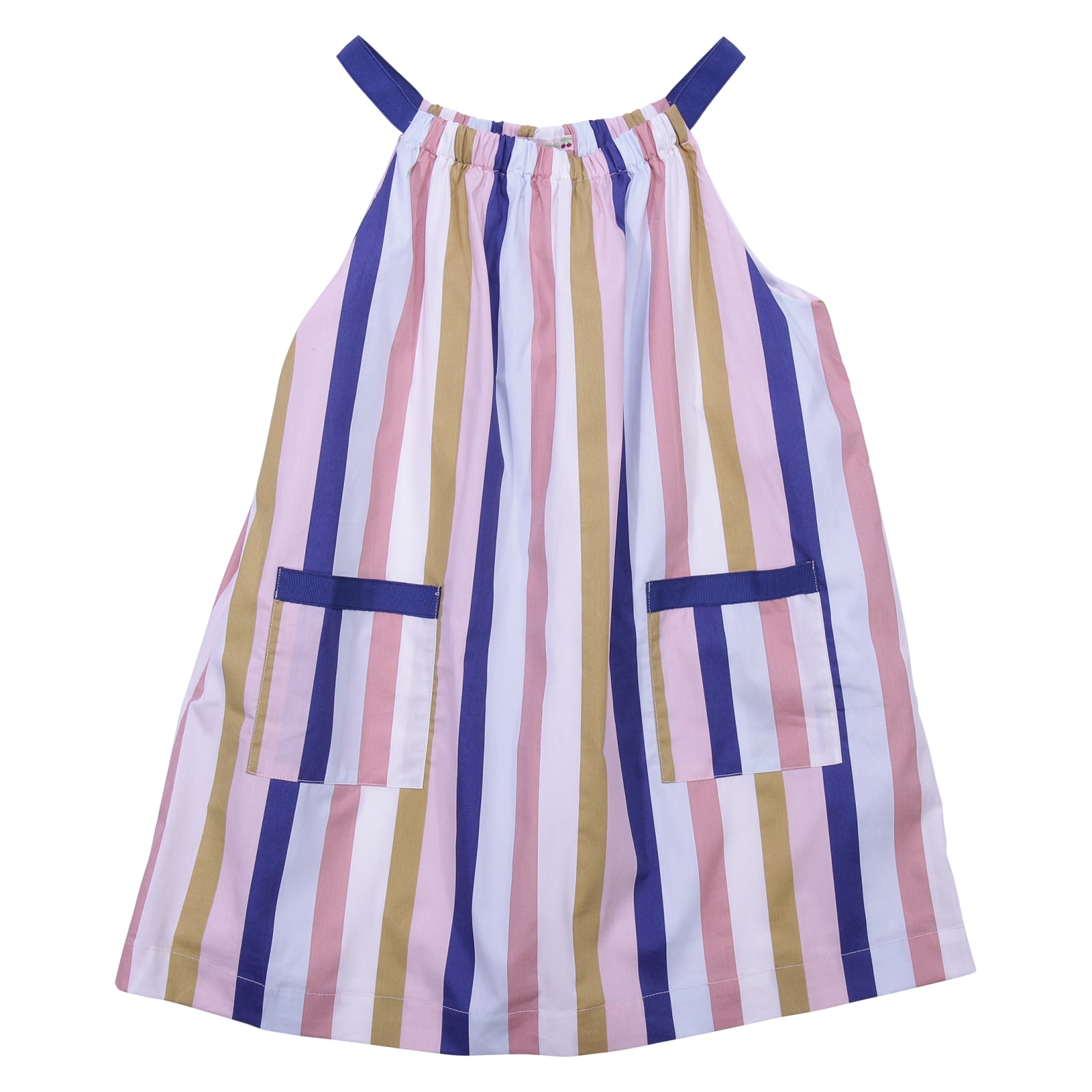 Bonpoint Striped Multicolor Print Cotton Poplin Dress