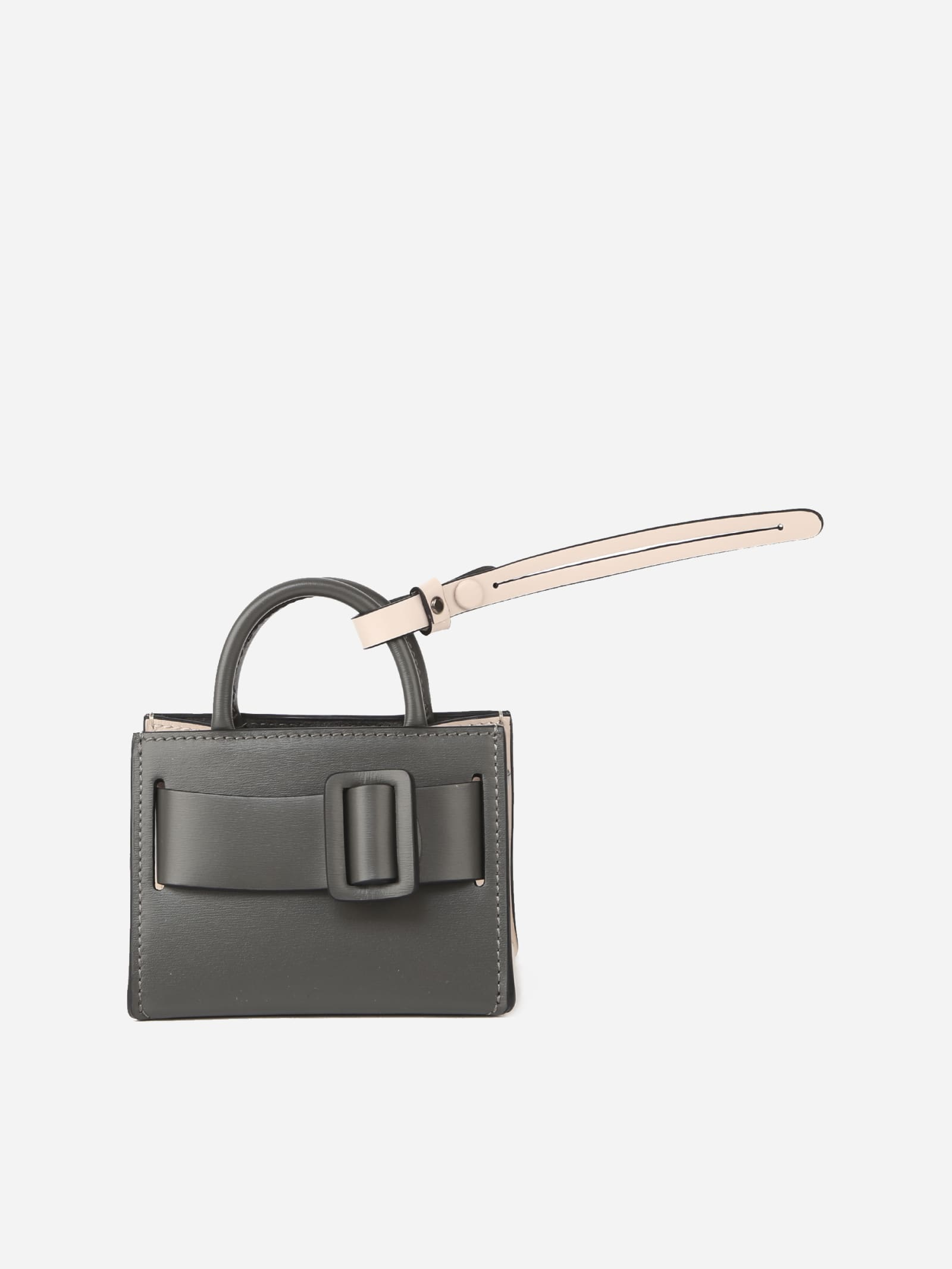 Leather Bag Charm With Two-tone Detail