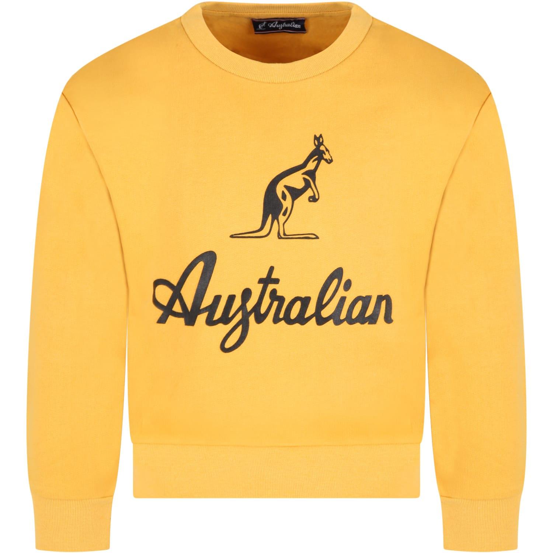 Yellow Sweatshirt For Boy With Logo