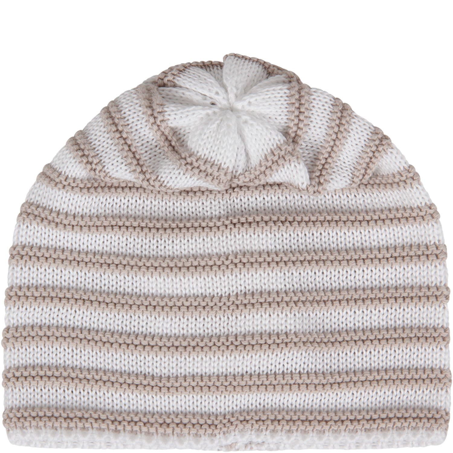 White And Beige Hat For Baby Kid