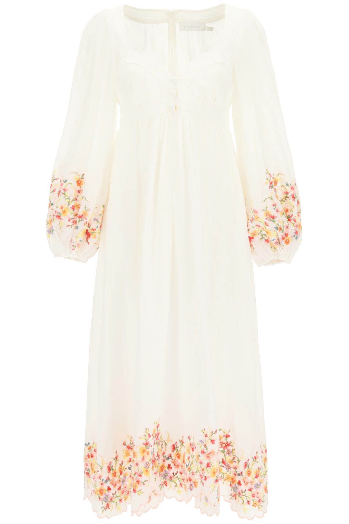 Buy Zimmermann Mae Dress With Floral Embroidery online, shop Zimmermann with free shipping