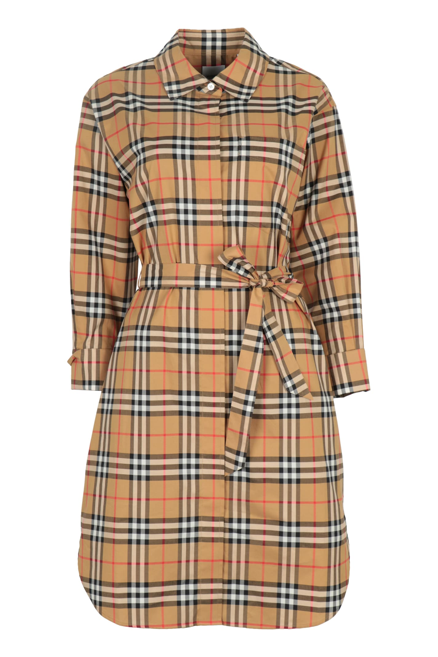 Buy Burberry Vintage Check Cotton Shirtdress online, shop Burberry with free shipping