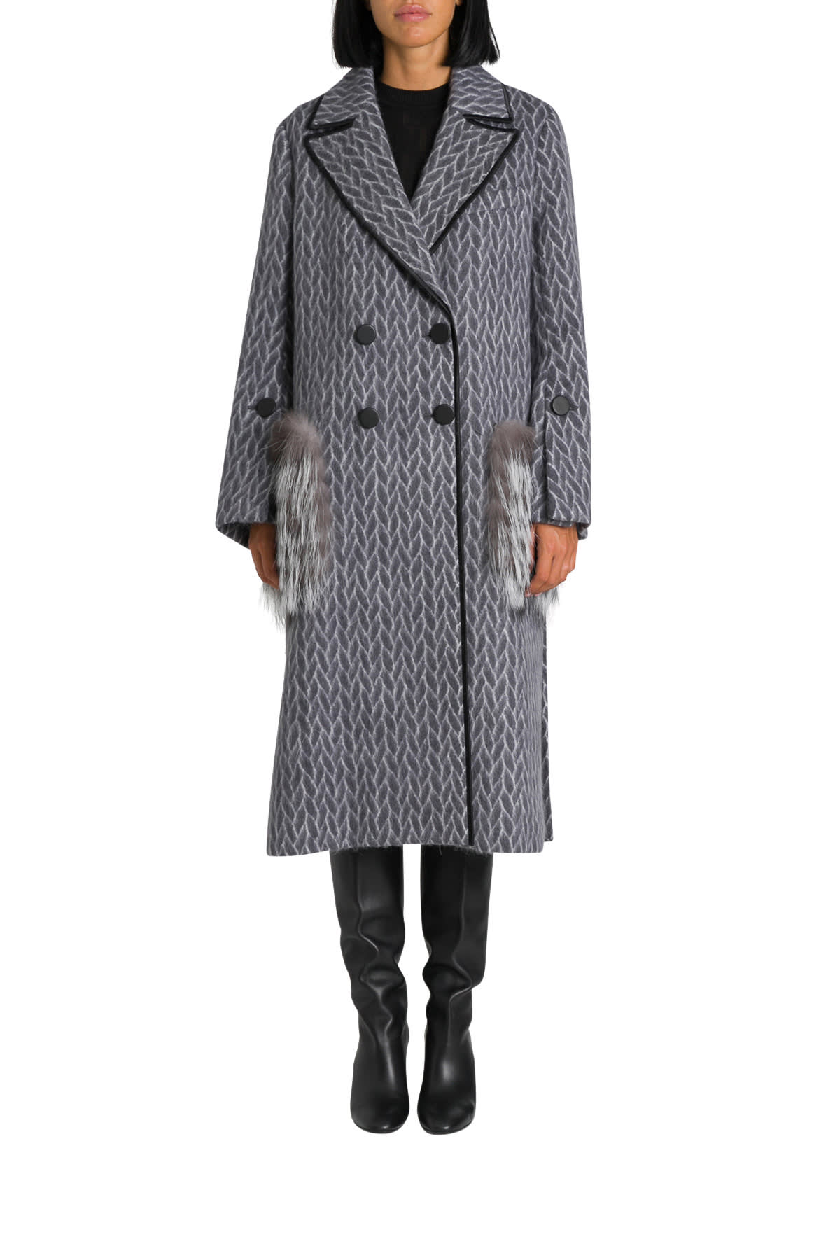 Fendi Coat With Fur Pockets