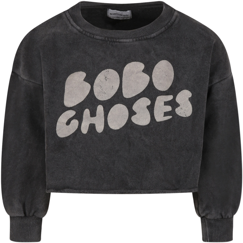 Black Sweatshirt For Girl With Logo