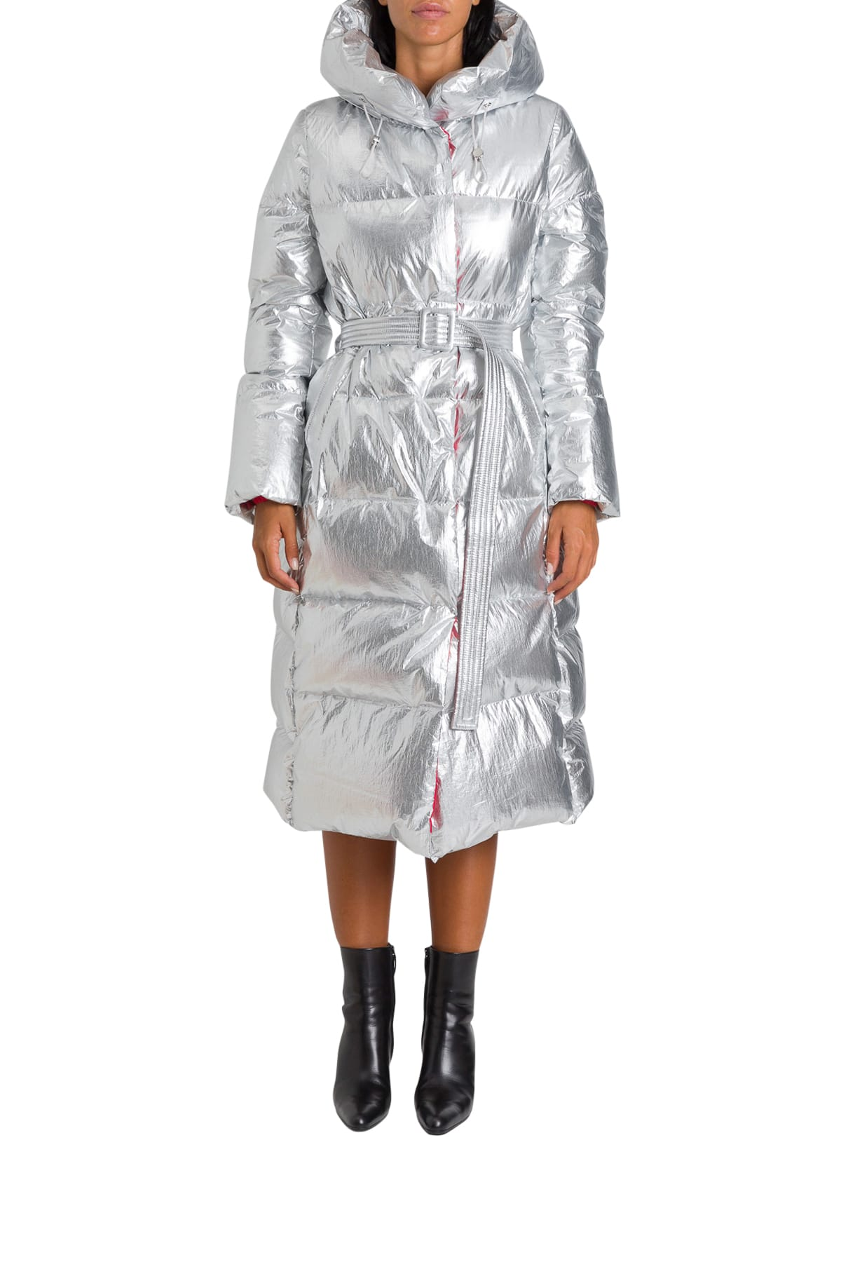 Nicole Benisti Long Puffer Jacket With Hood And Belt