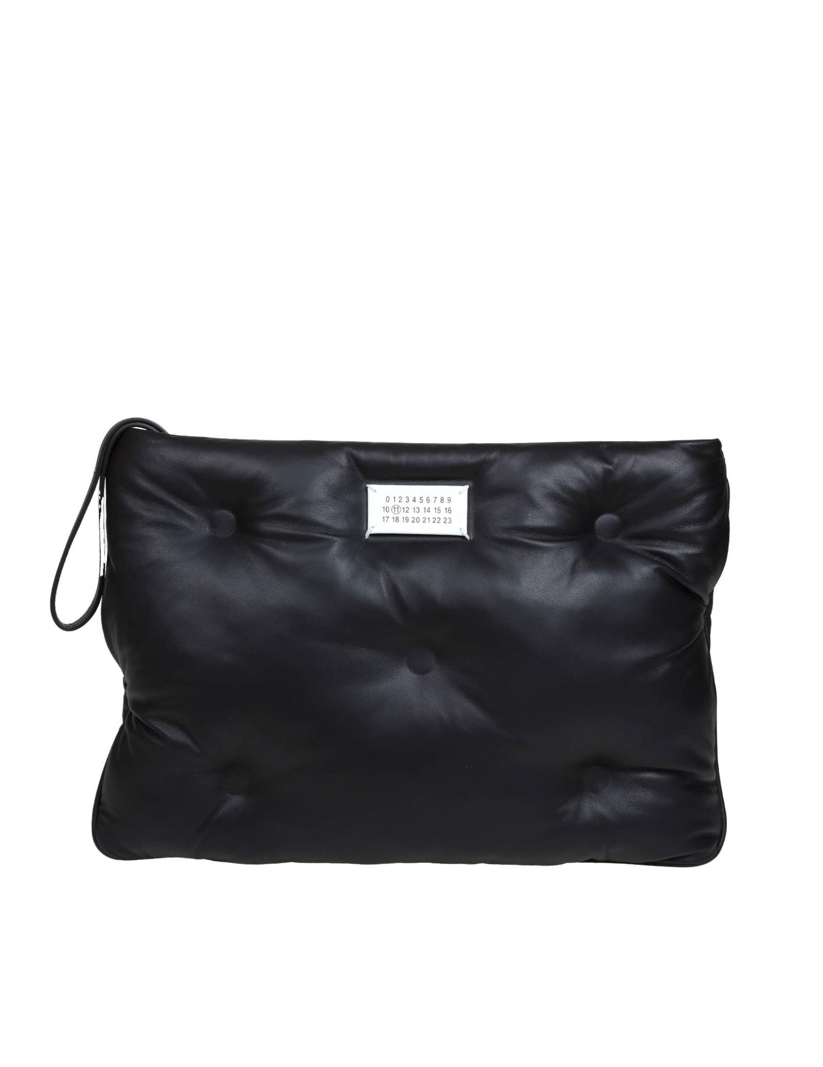 Maison Margiela Clutch Glam S In Black Leather