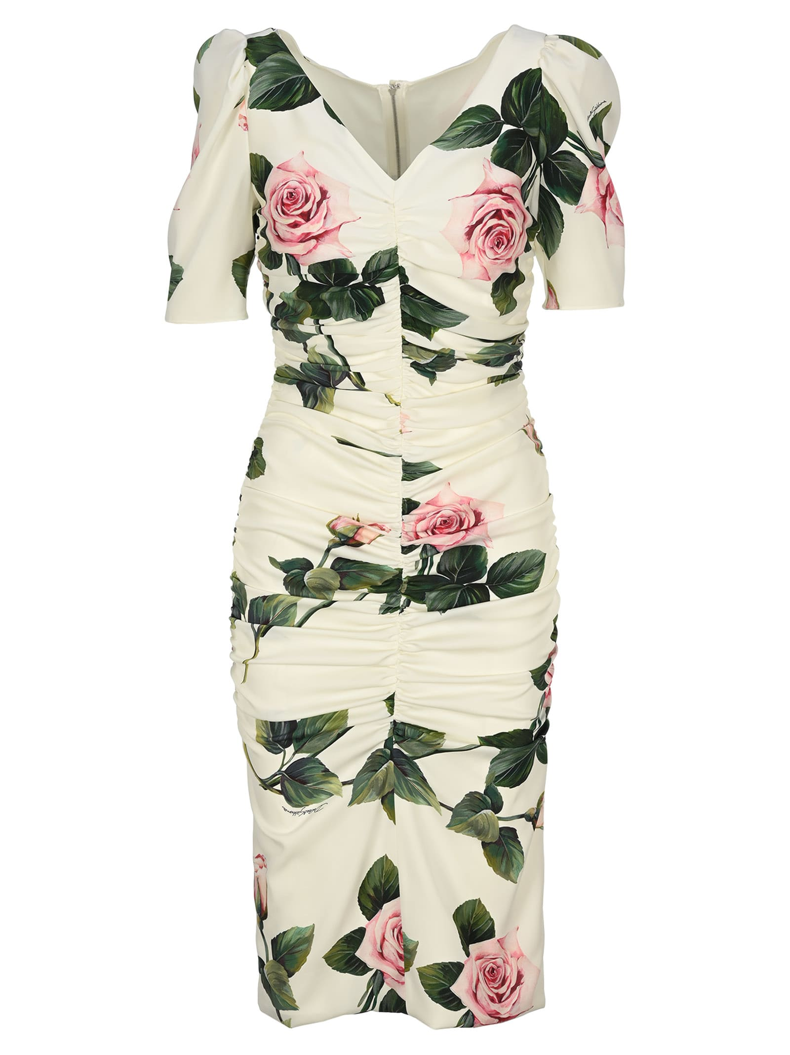 Buy Dolce & gabbana Rose Print Ruched Dress online, shop Dolce & Gabbana with free shipping