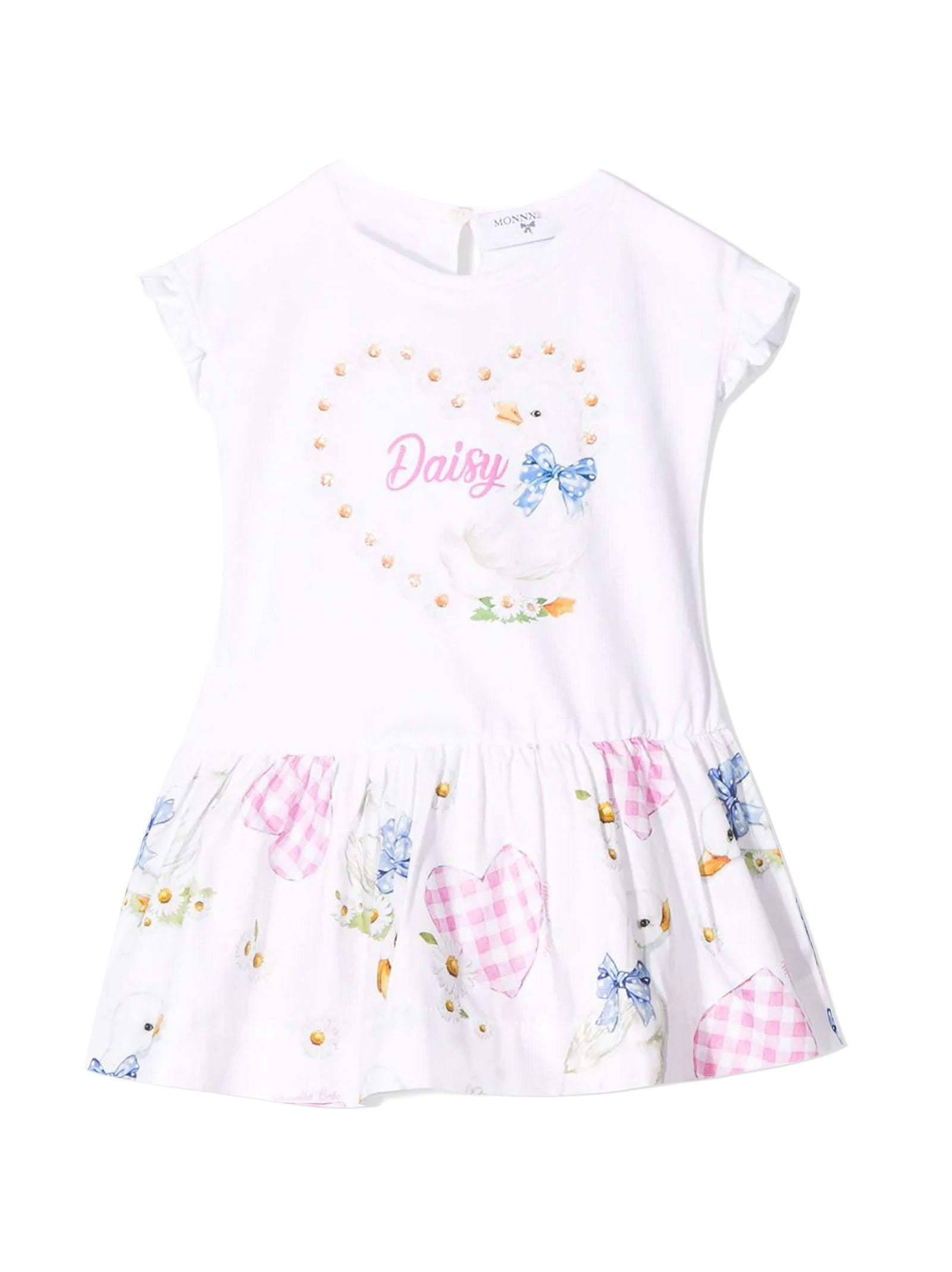 Monnalisa White Stretch Cotton Daisy Printed Dress