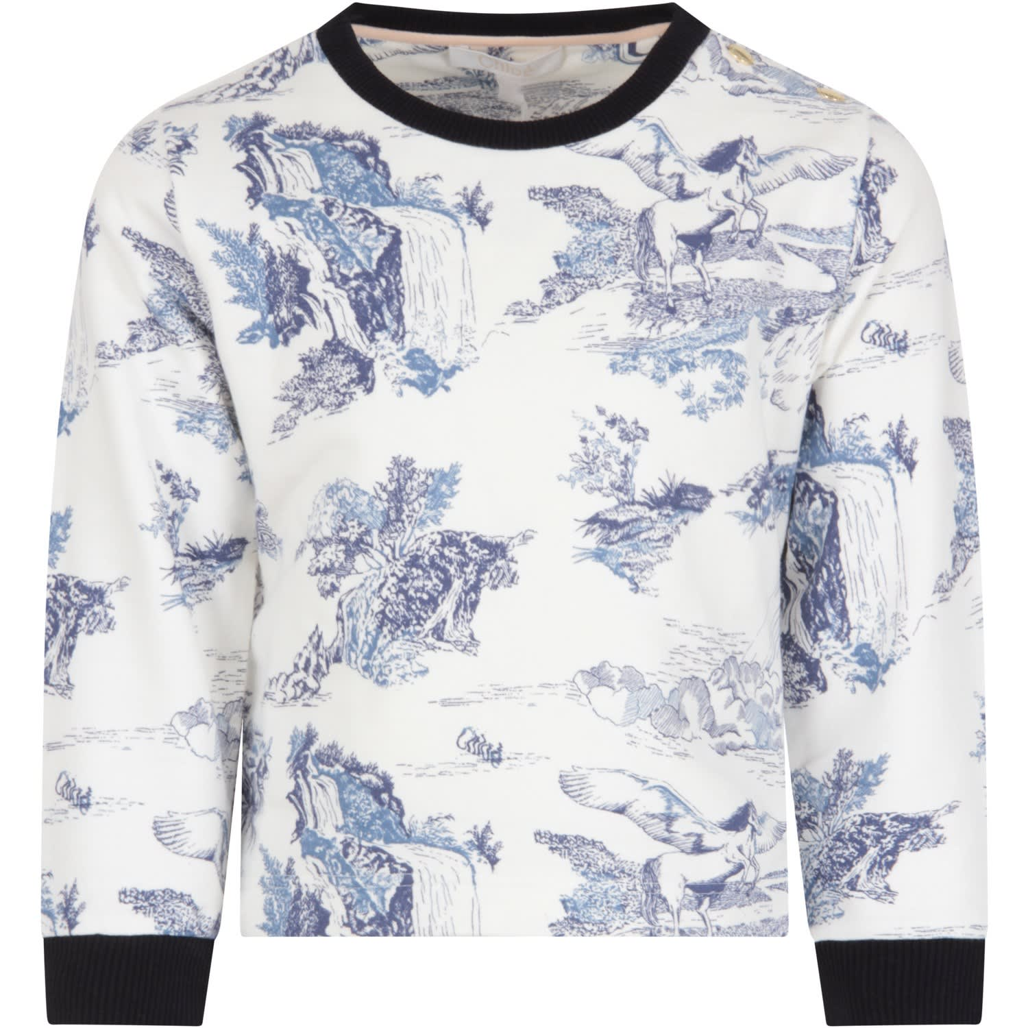 Color: White White sweatshirt, with long sleeveles, ribbed crew-neck and cuffs and side rips. It is embellished with blue all-over prints. 100% Cotton. Machine wash at 30°C.