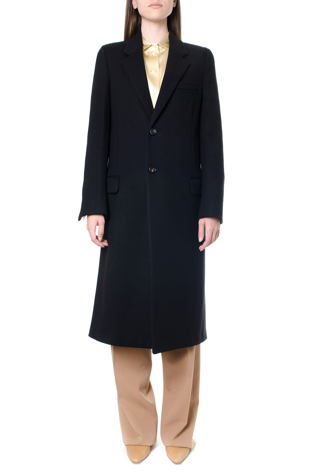 Bottega Veneta Black Wool Single Breasted Coat