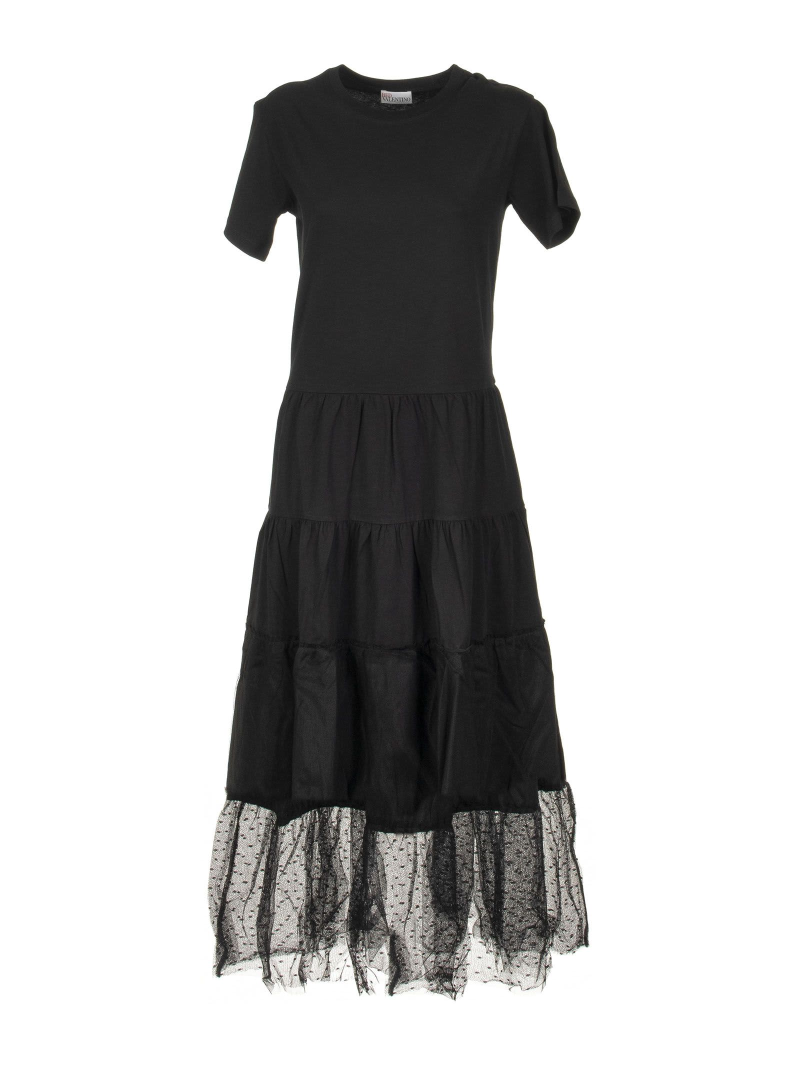 Buy RED Valentino Black Cotton Dress With Tulle online, shop RED Valentino with free shipping