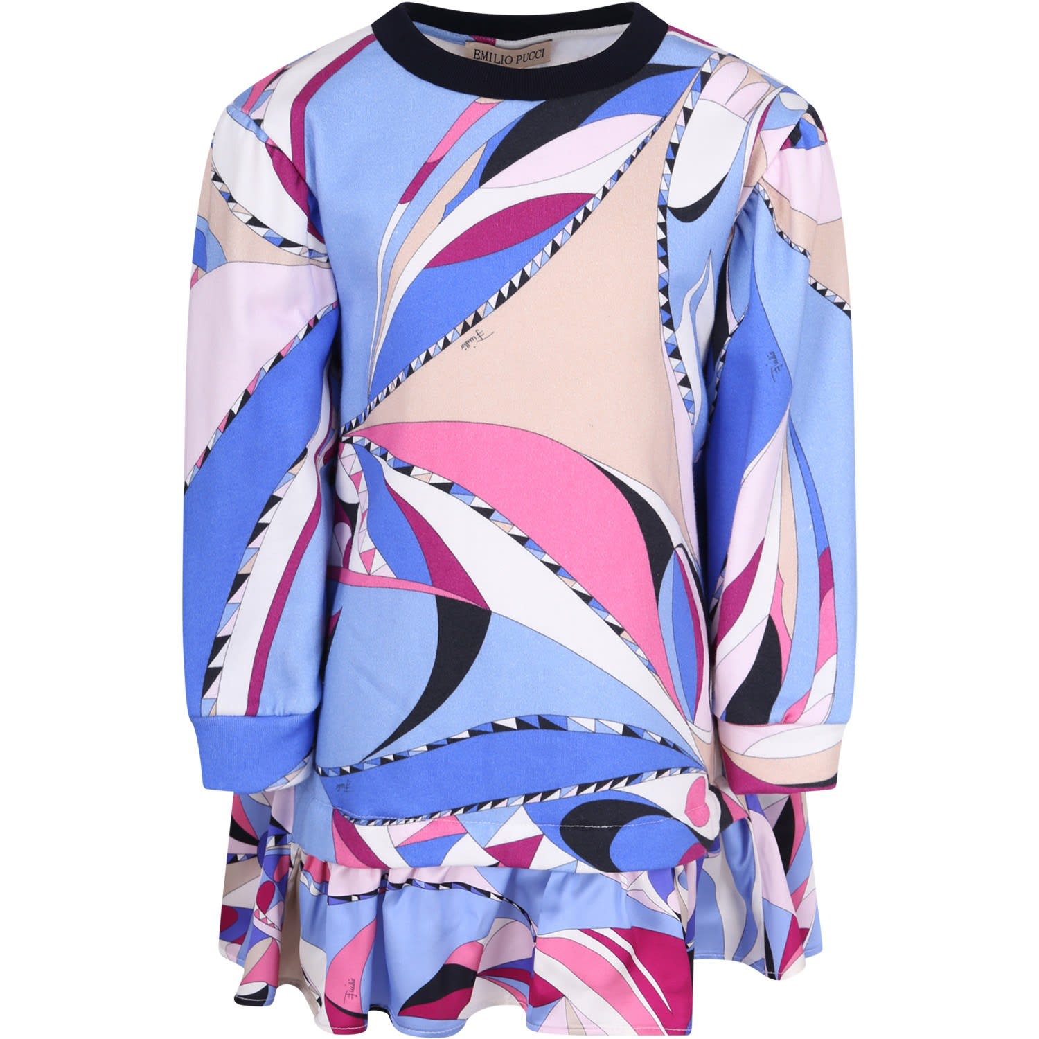 Emilio Pucci Light Blue Girl Dress With Colorful Iconic Print