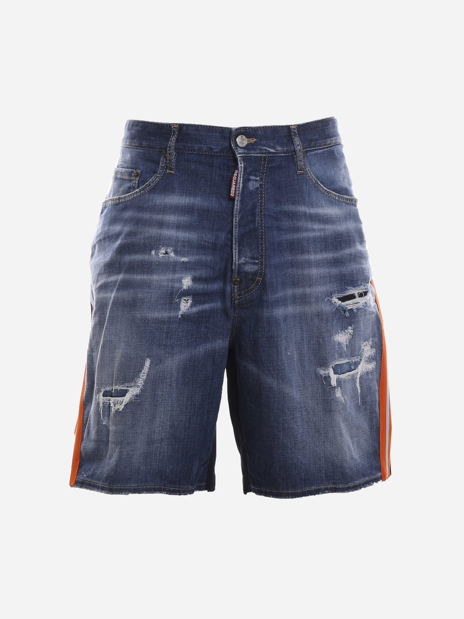 Dsquared2 Denims DENIM SHORTS WITH TECHNICAL FABRIC BACK