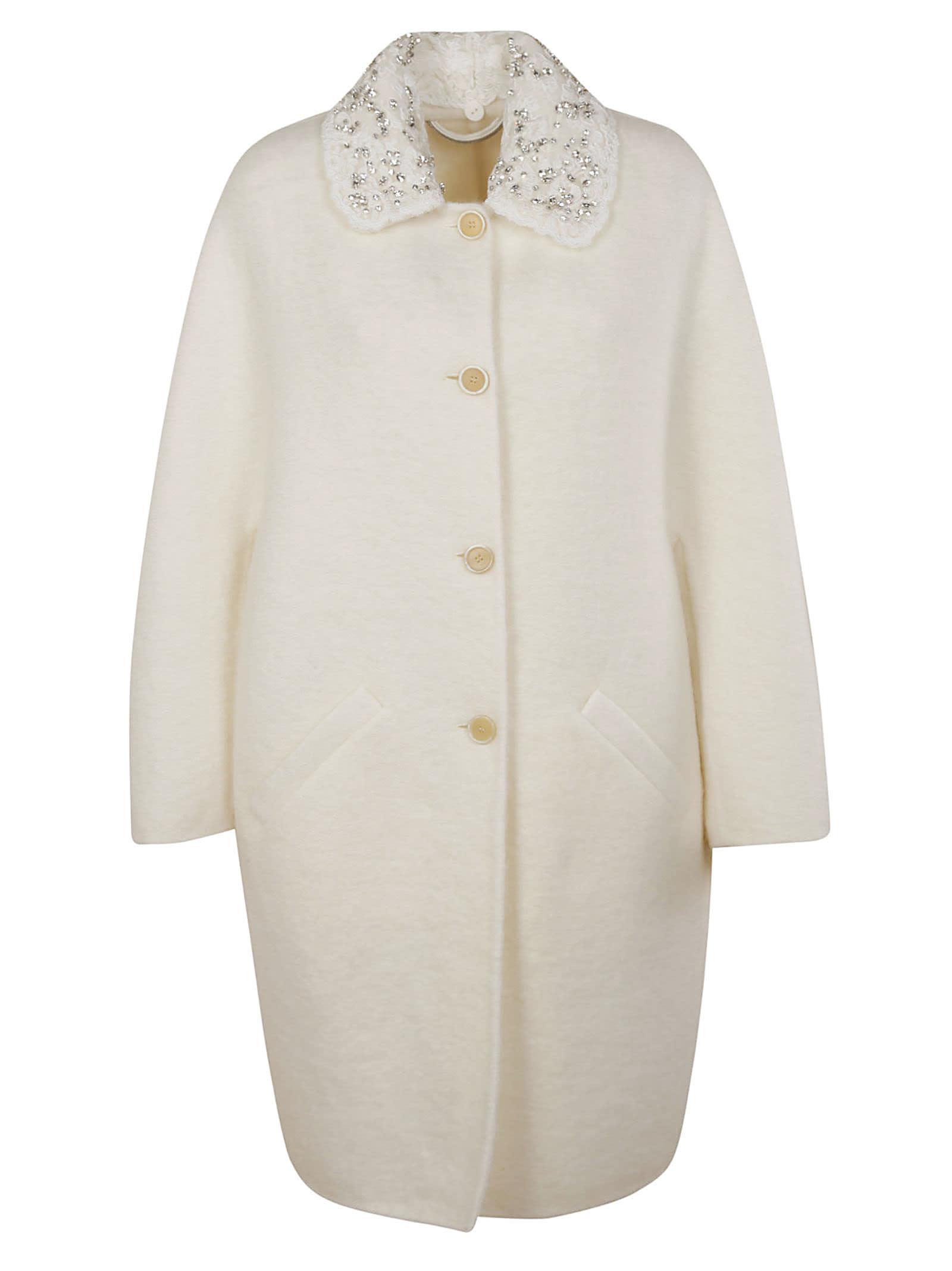 Ermanno Scervino Collar Embellished Coat