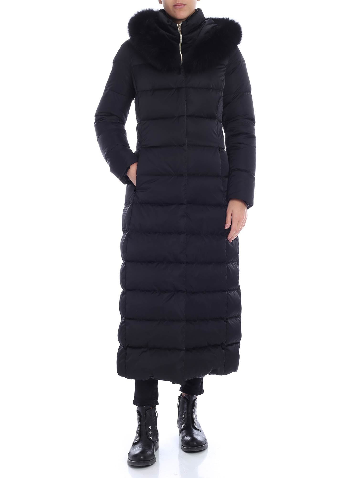 Herno Long Padded Coat With Fur Insert