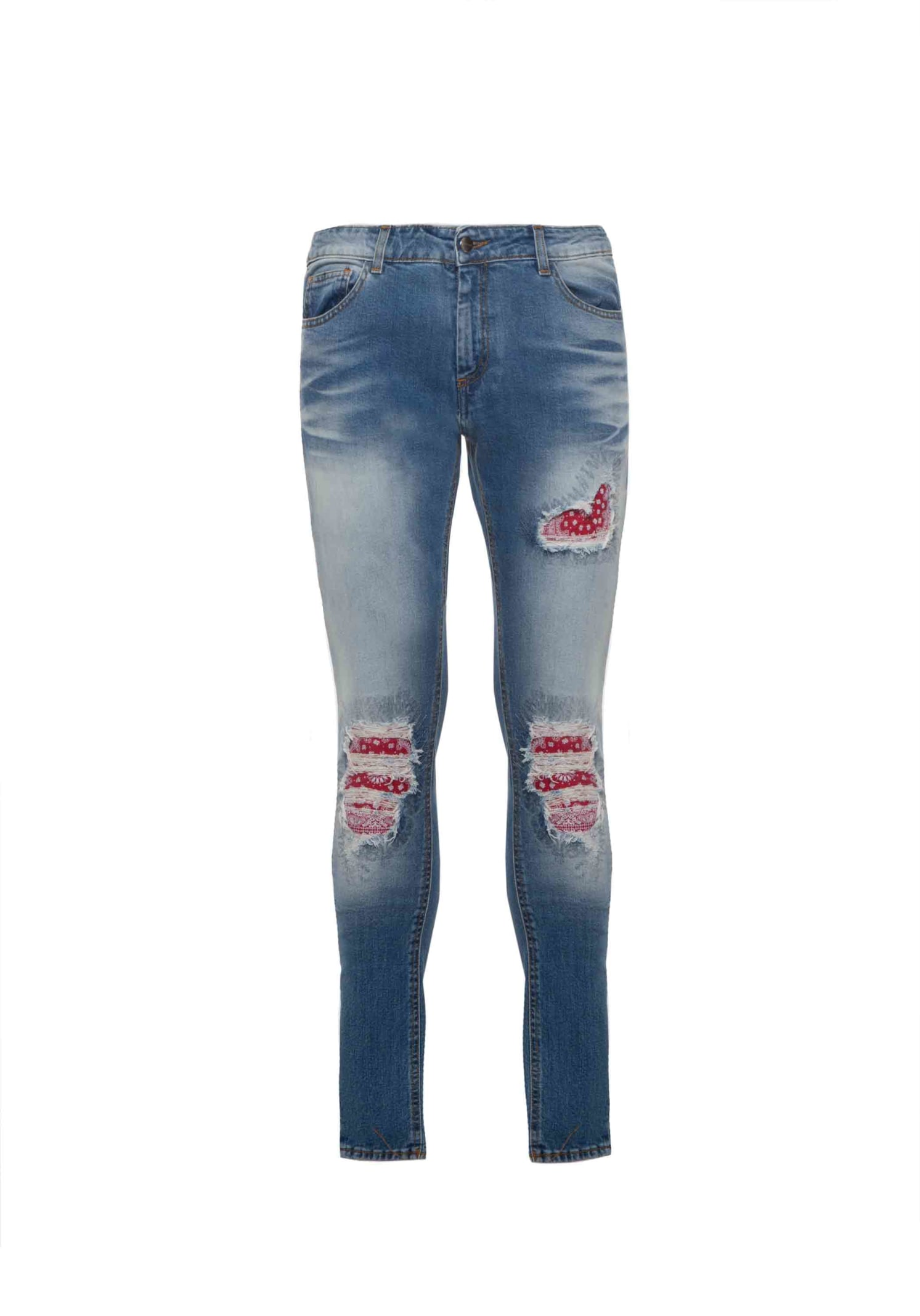 Jeans Denim Patch Bandana Blue