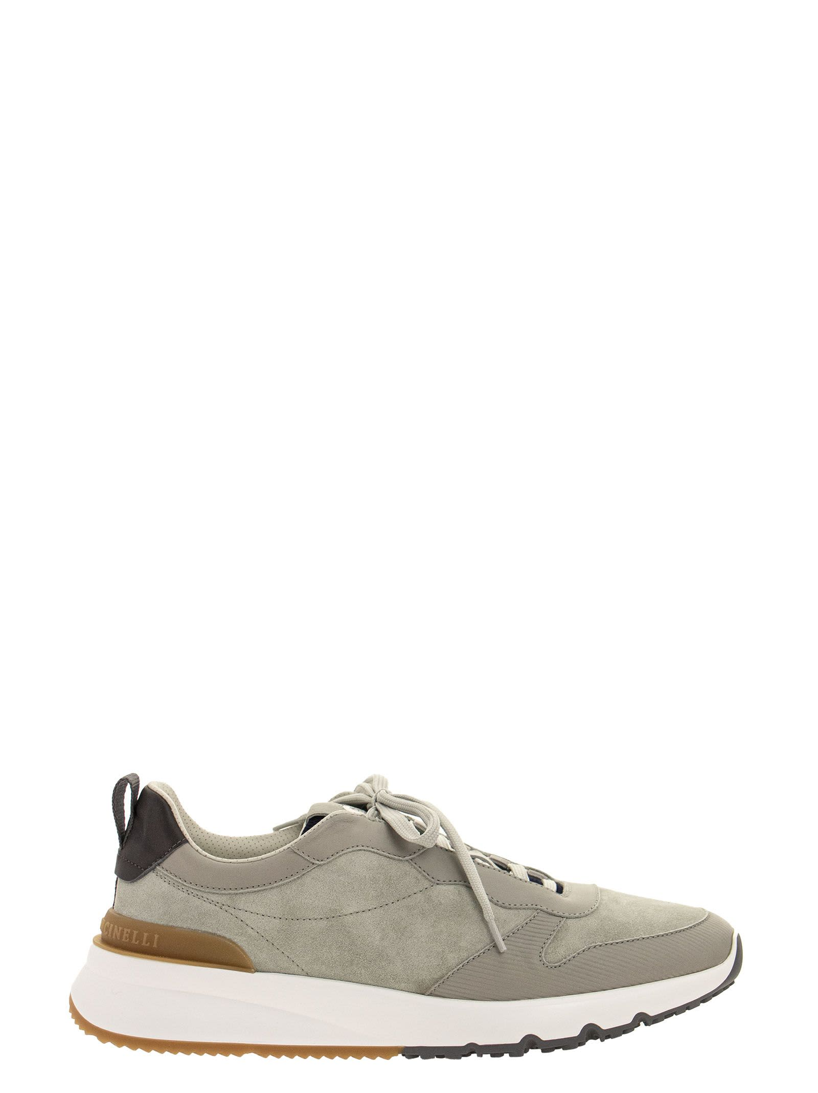 Brunello Cucinelli WASHED SUEDE AND SEMI-POLISHED CALFSKIN RUNNERS SNEAKERS GREY