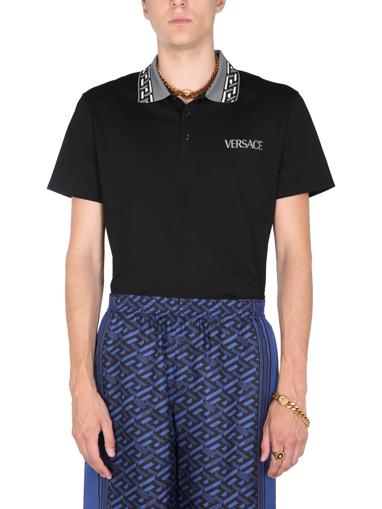 Versace Polo Shirt With Greek Print