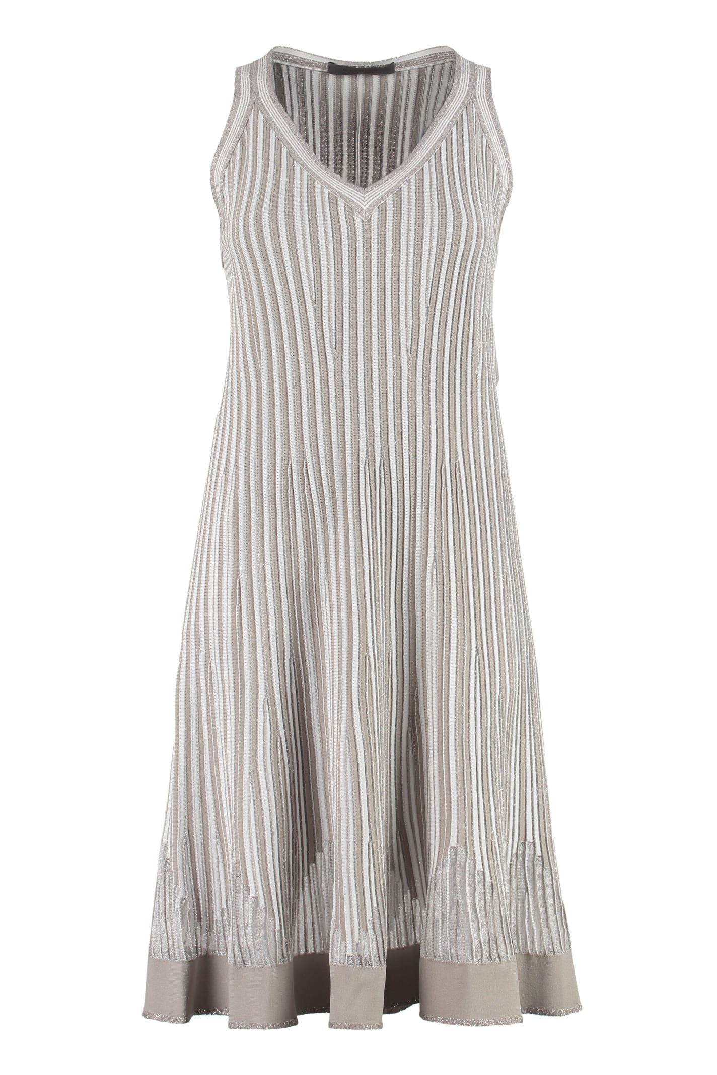 D.Exterior Lurex Knitted Dress With Chevron Pattern