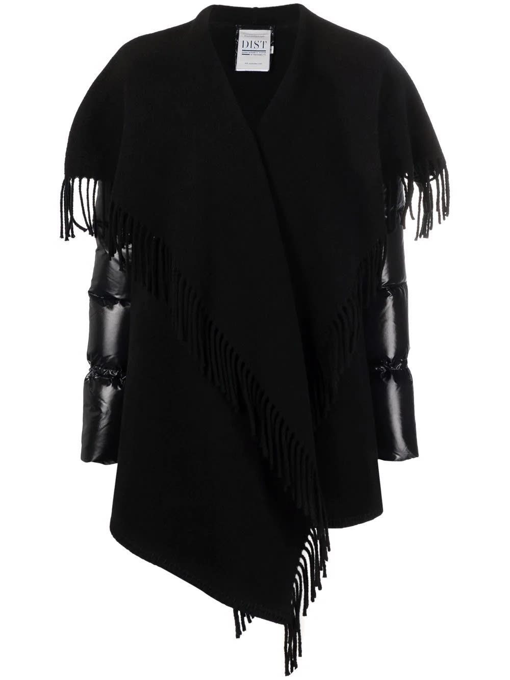 Moncler Woman Black Cape With Fringes And Down Sleeves
