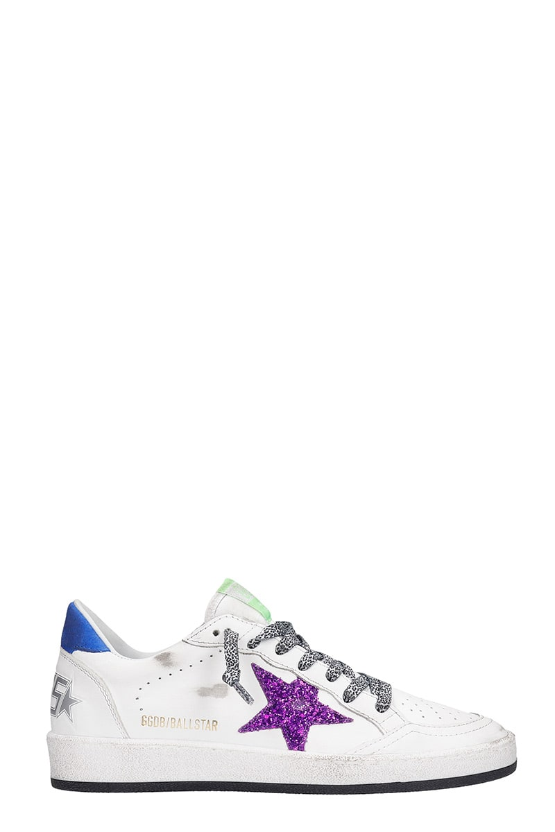 Buy Golden Goose Bal Lstar Sneakers In White Leather online, shop Golden Goose shoes with free shipping