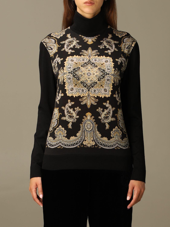 Etro Sweater Turtleneck In Paisley Wool Blend