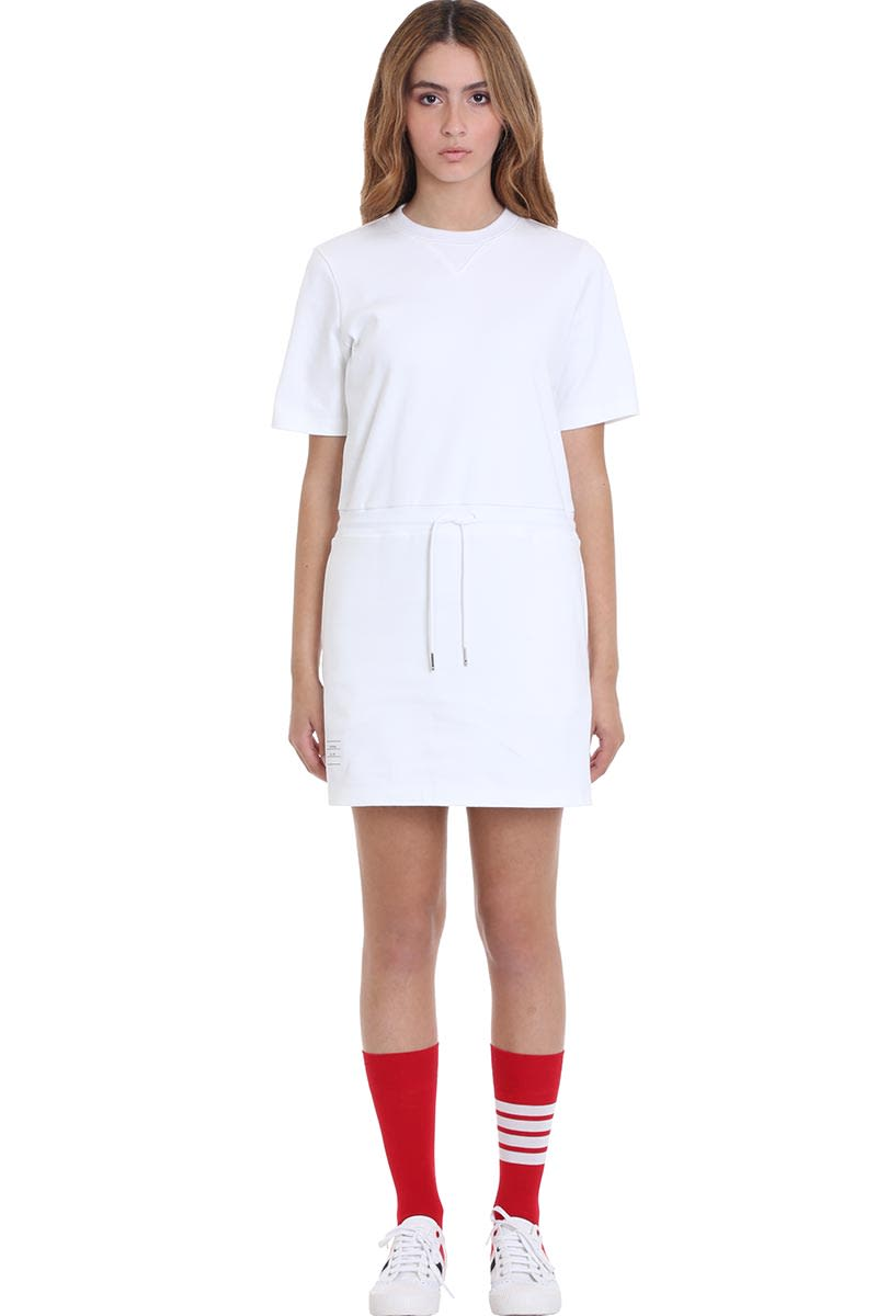 Buy Thom Browne Dress In White Cotton online, shop Thom Browne with free shipping