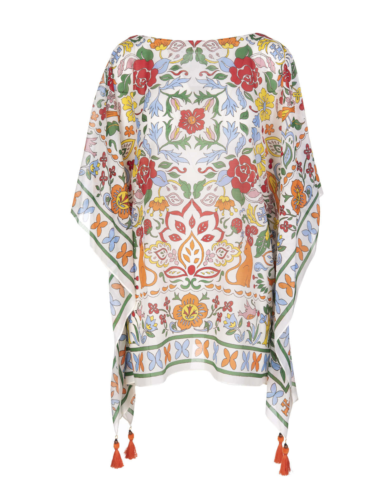 Buy Tory Burch White Beach Tunic With Multicolored Fantasy Print online, shop Tory Burch with free shipping