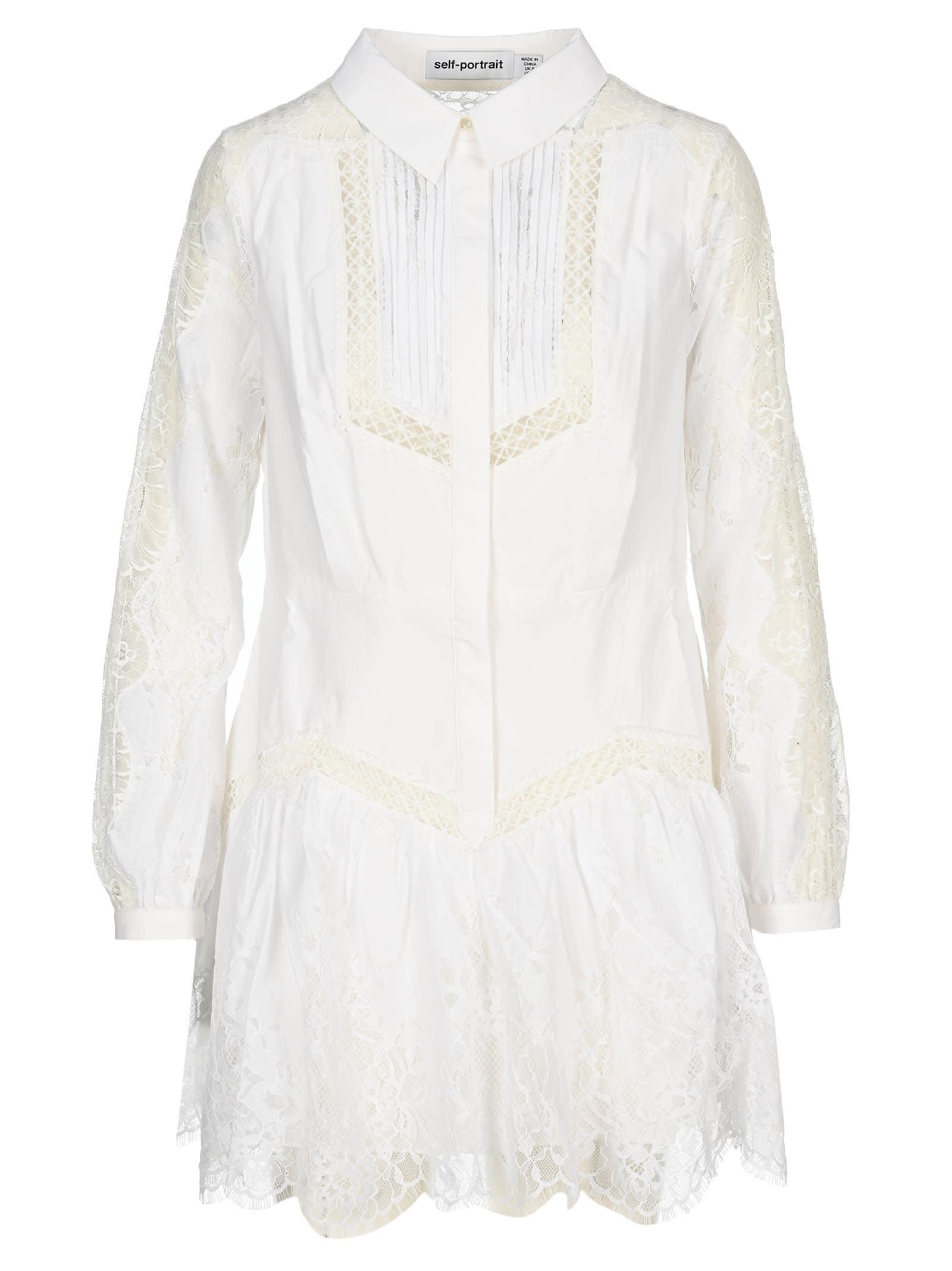 Buy Self Portrait Lace Panel Shirt Dress online, shop self-portrait with free shipping