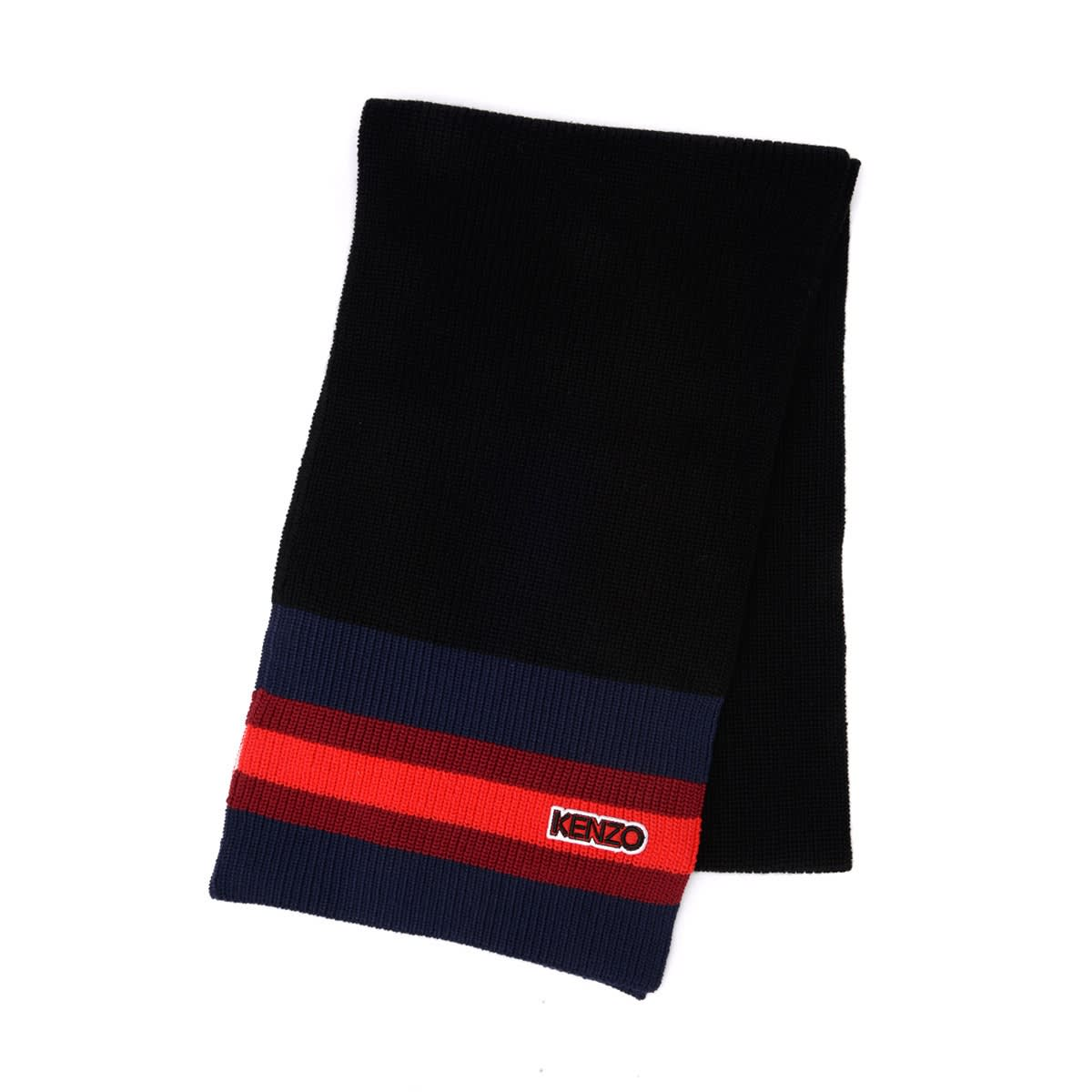 Kenzo Scarf In Black Wool With Multicolor Striped Pattern In Nero