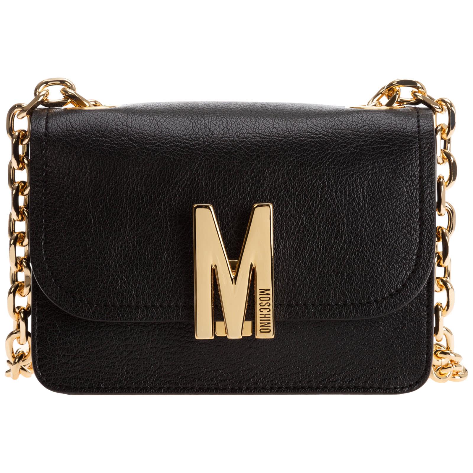 Moschino M Shoulder Bag In Nero