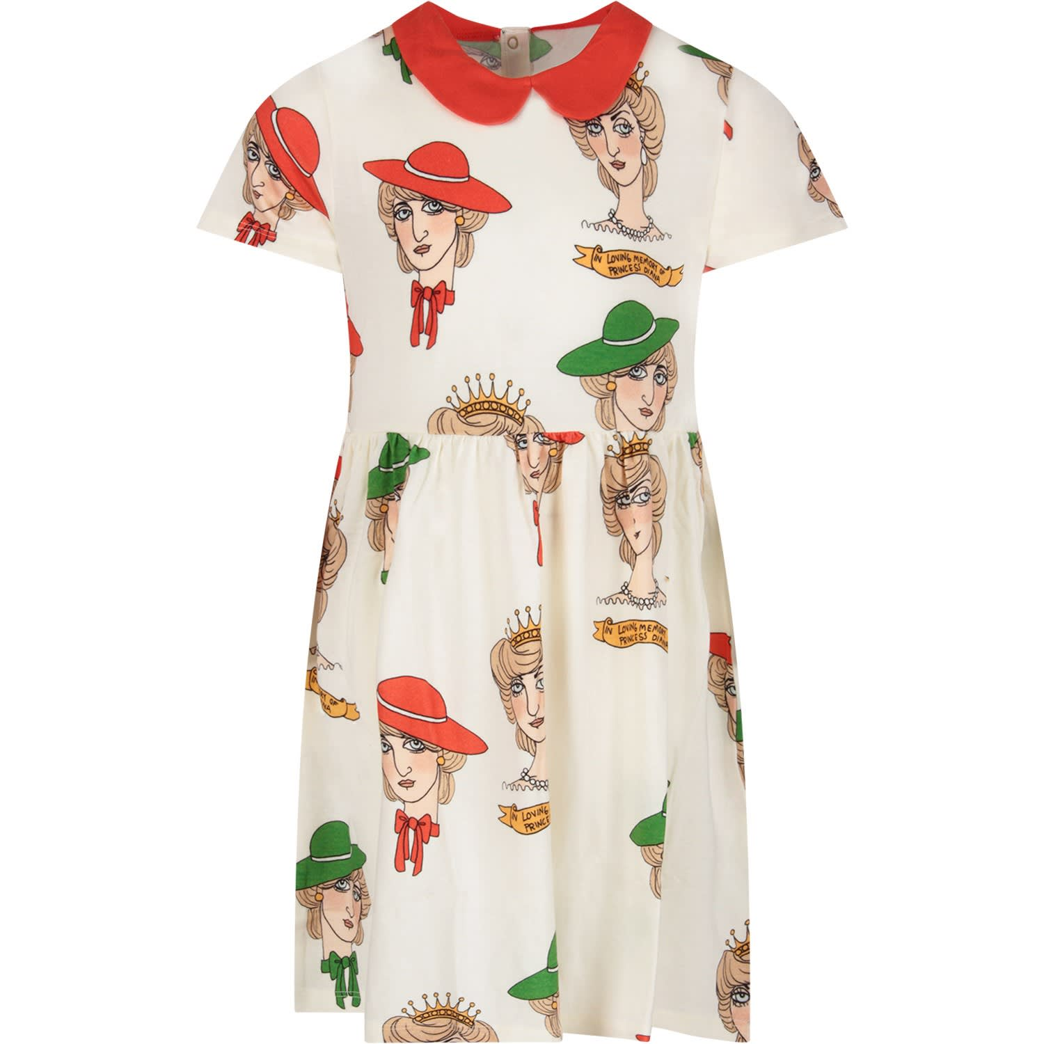 Buy Mini Rodini Ivory Girl Dress With Princess Daiana online, shop Mini Rodini with free shipping