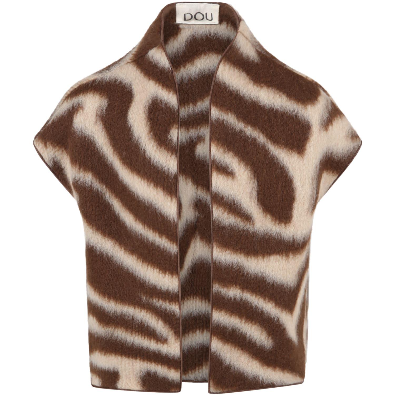 Brown Vest For Kids With Biege Details