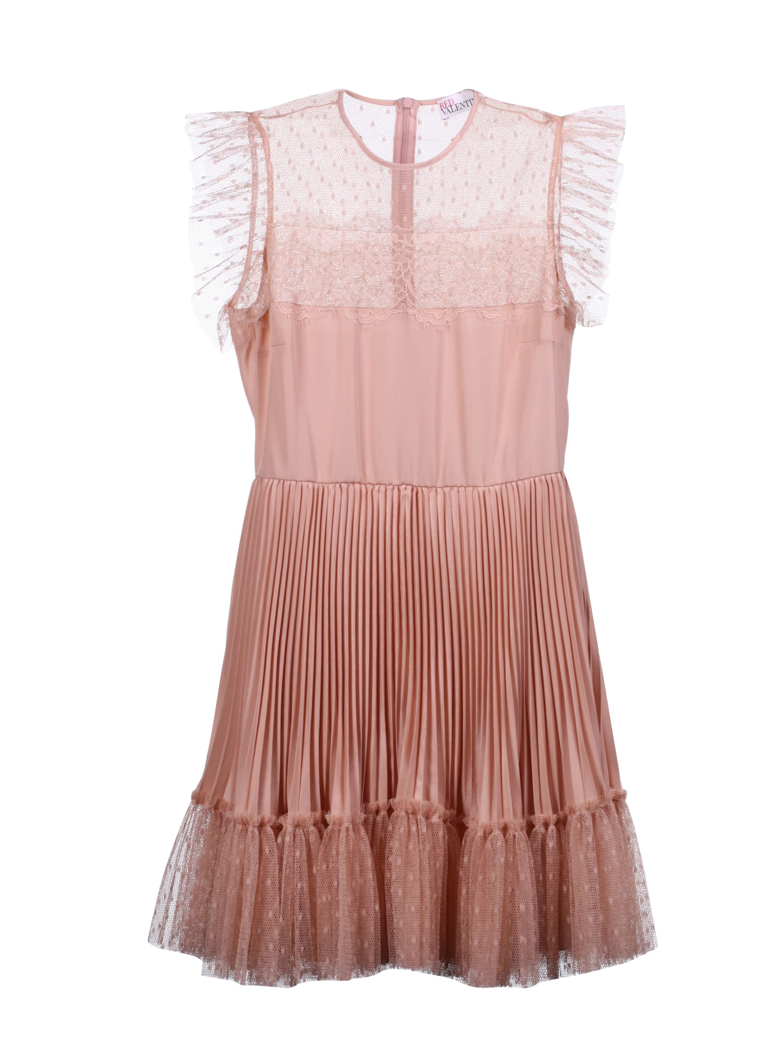 Buy RED Valentino Pleated Lace Detail Dress online, shop RED Valentino with free shipping