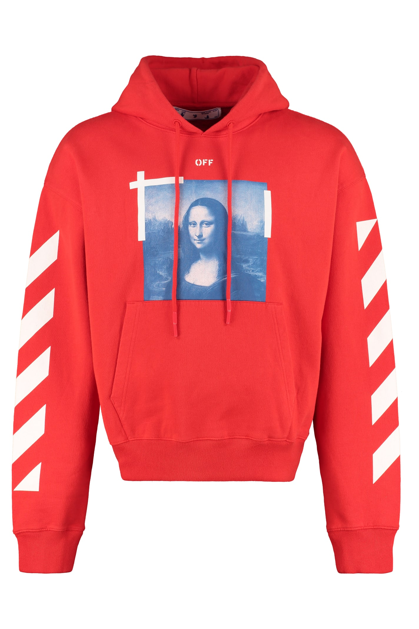 Off-white Cotton Hoodie In Red