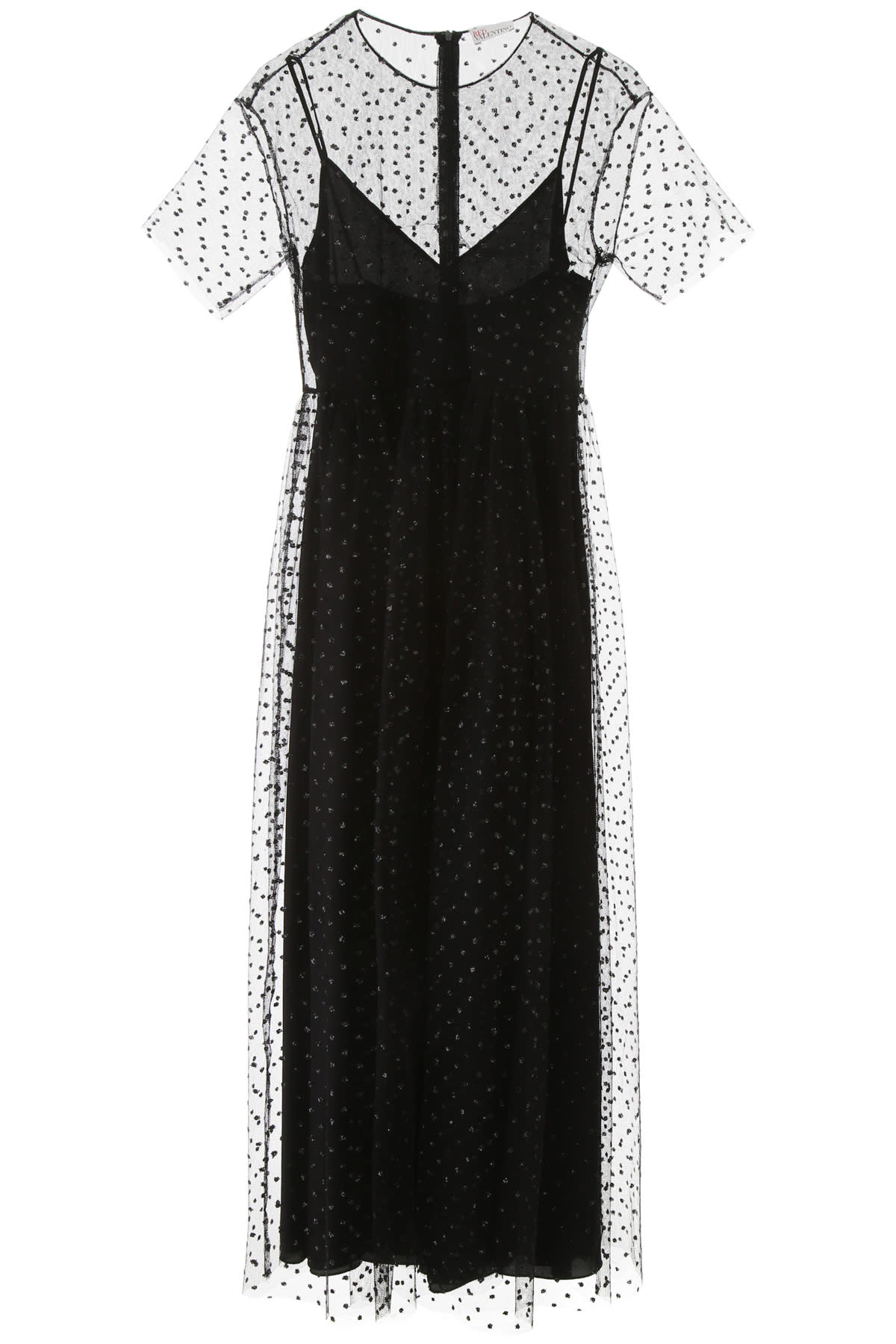 Buy Tulle Dress With Glitter Polka Dots online, shop RED Valentino with free shipping