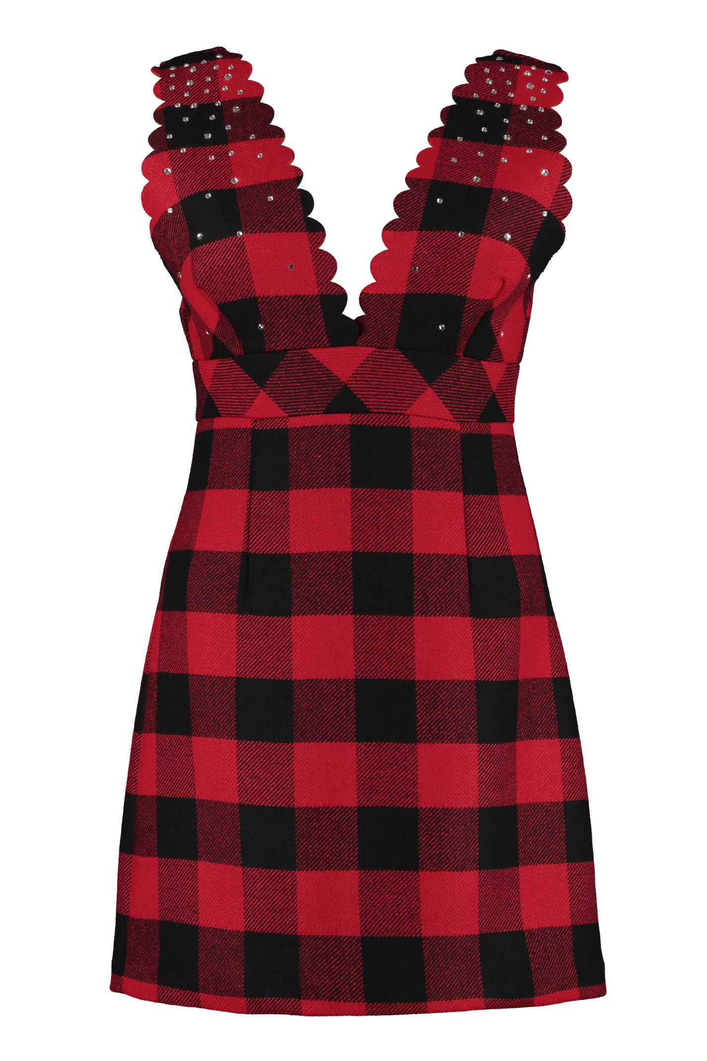 Pinko Mescolare Embellished Tartan-wool Dress
