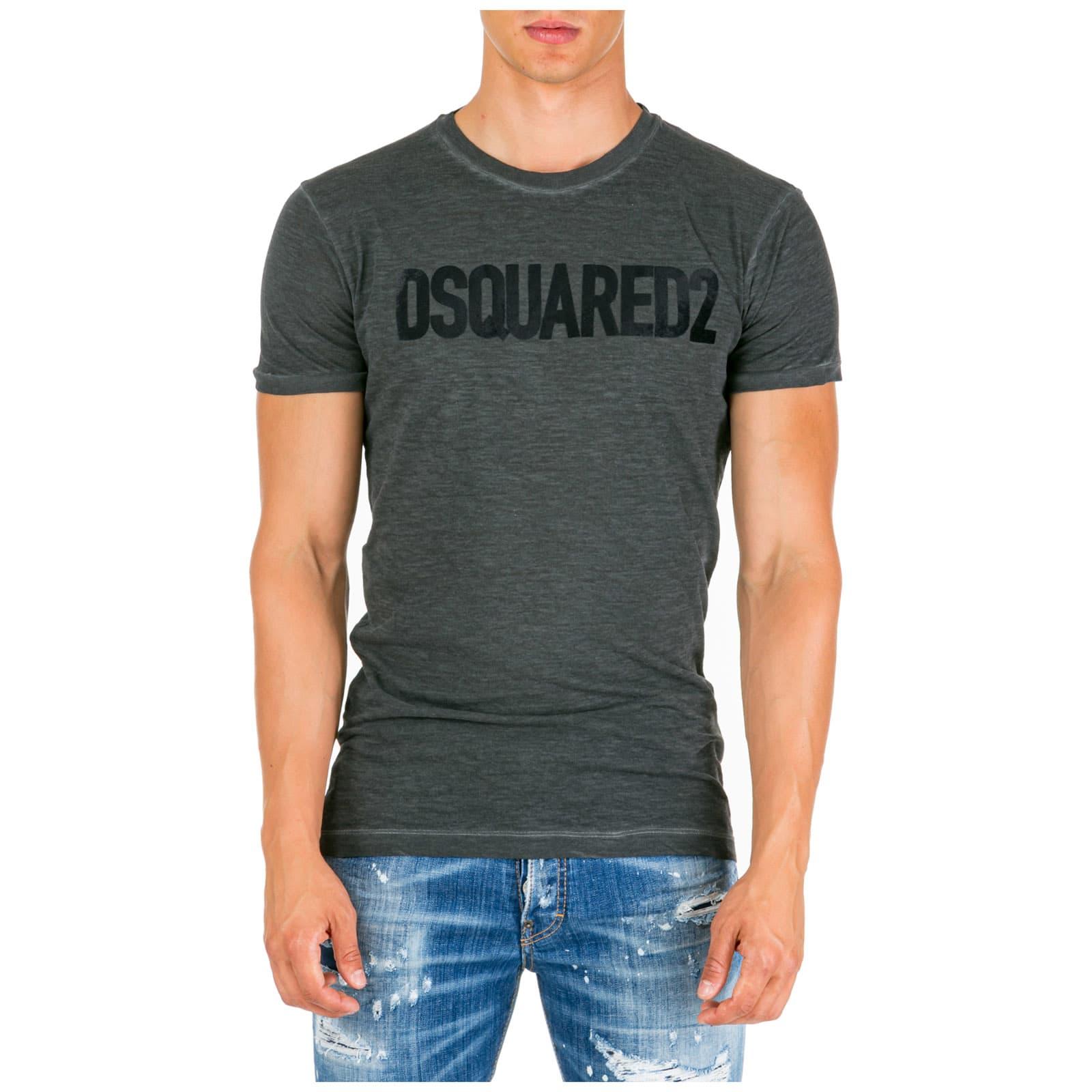 Dsquared2 Print T-Shirt In Grigio