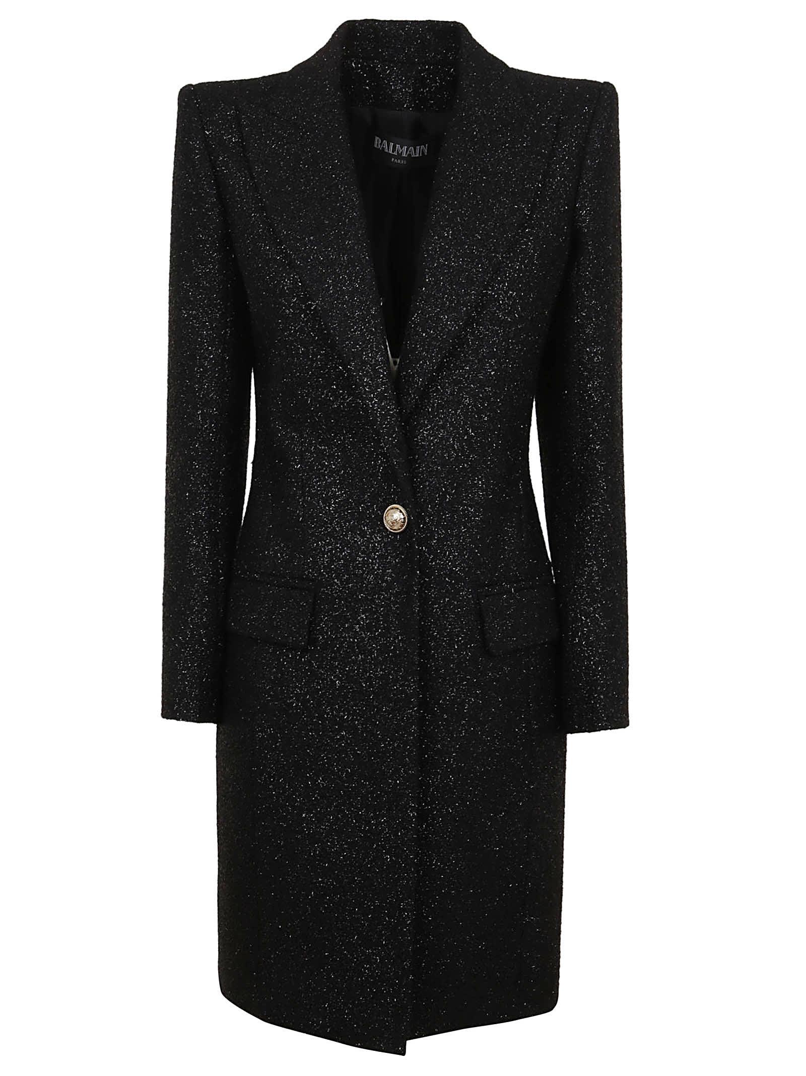 Balmain One Button Tweed Coat