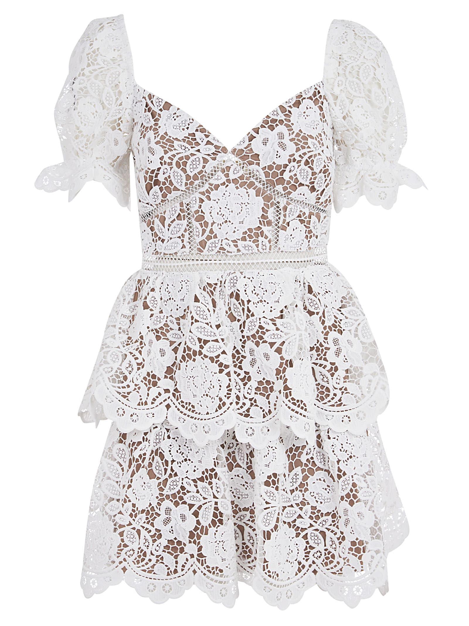 Buy self-portrait White Flower Lace Mini Dress online, shop self-portrait with free shipping