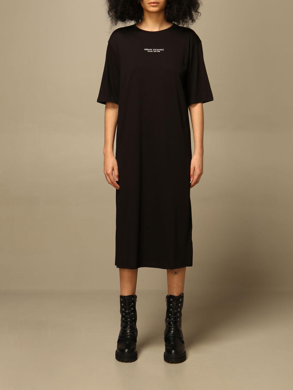 Buy Armani Exchange Dress Armani Exchange Midi Dress With Logo online, shop Armani Collezioni with free shipping