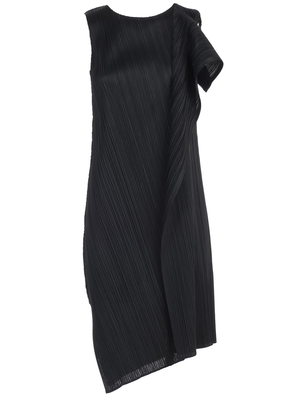 Pleats Please Issey Miyake Dress W & s Crew Neck Drape Pleats