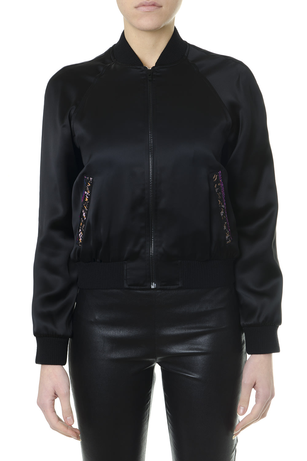 Saint Laurent Black Satin Padded Bomber Jacket With Saint Laurent Embroidery