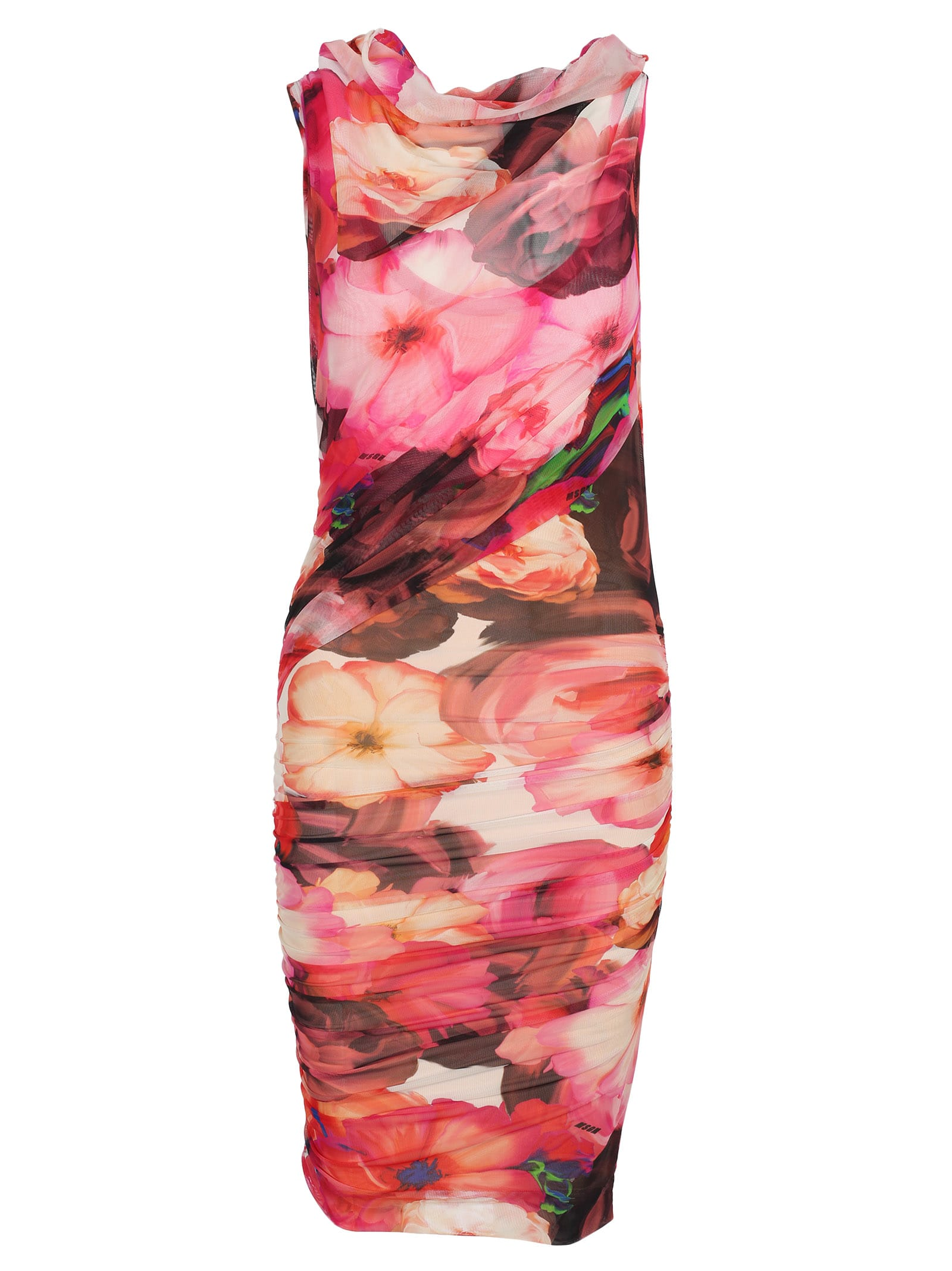 Msgm Msgm Floral Print Ruched Dress