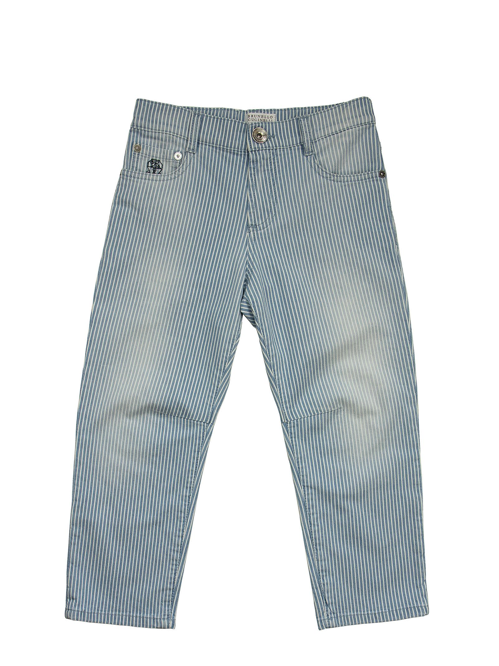 Brunello Cucinelli Jeans STRIPED COTTON DENIM TROUSERS