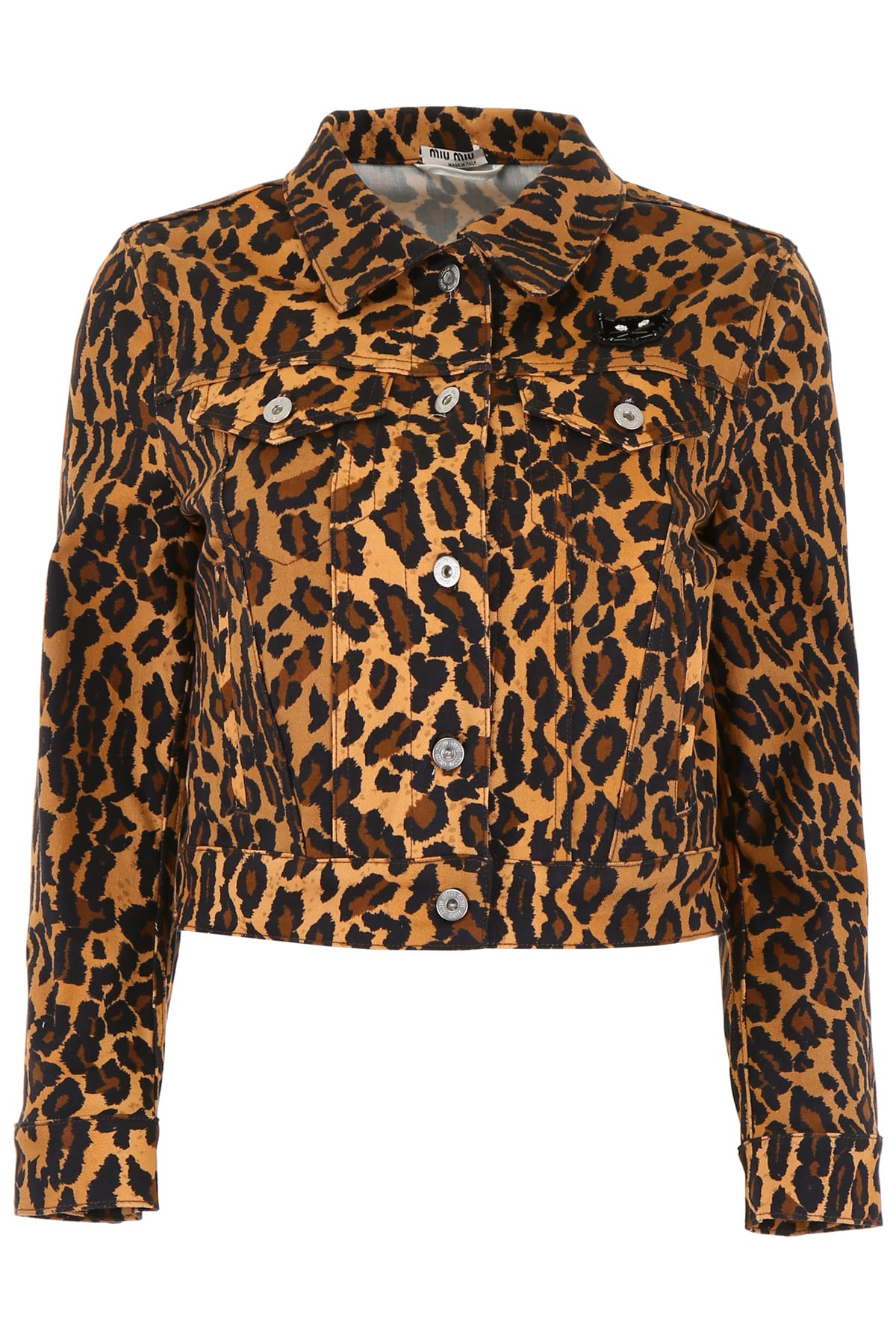 Miu Miu Leopard-printed Denim Jacket