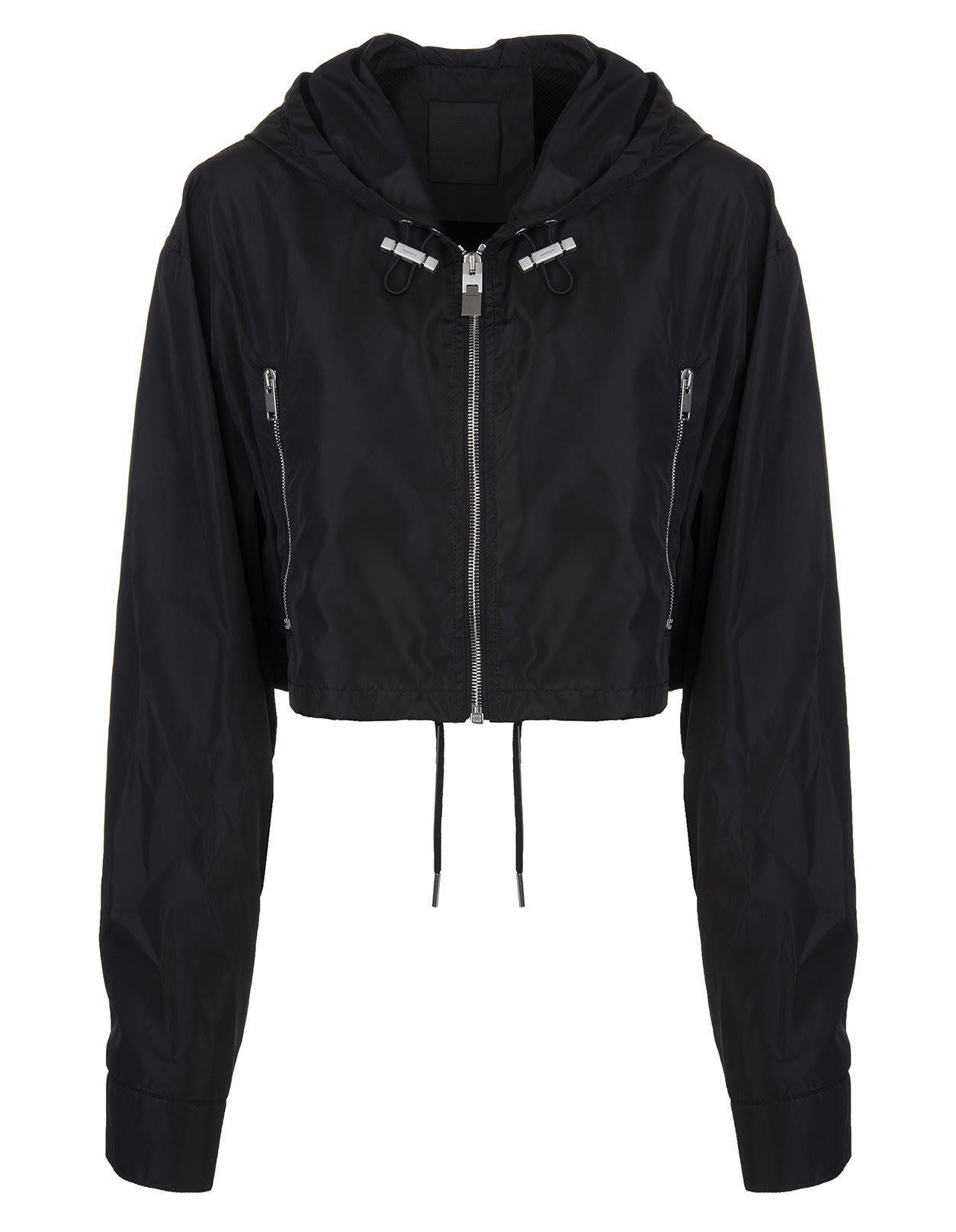 Givenchy Jackets WOMAN BLACK SHORT WINDBREAKER WITH LOGO ON THE BACK