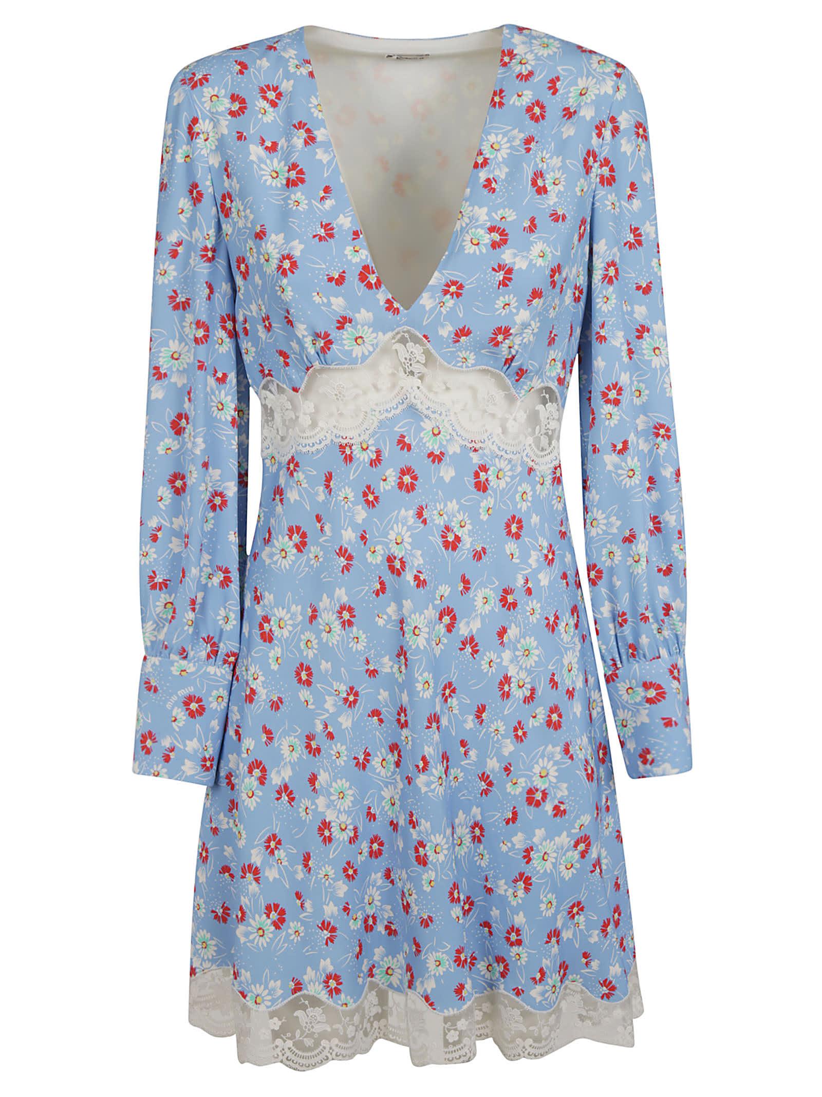 Buy Miu Miu Floral Print V-neck Laced Detail Dress online, shop Miu Miu with free shipping