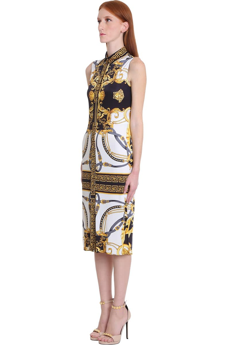 Buy Dress In White Silk online, shop Versace with free shipping